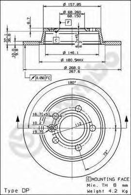08693510 Диск тормозной задн FORD: GALAXY 95-,  SEAT: ALHAMBRA 96-,  VW: SHARAN 95-