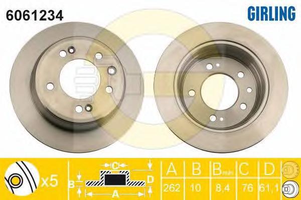 6061234 Диск тормозной HYUNDAI i30/ix35/KIA CEED/SPORTAGE задний D=262мм.