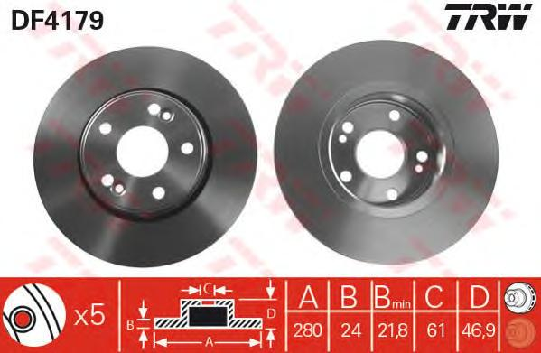 DF4179 Диск тормозной RENAULT LAGUNA II 01-07 передний вент.