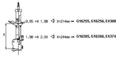 E4374 Амортизатор NISSAN ALMERA N15 97-99 пер.газ.(к-т 2шт.л/пр.цена за 1шт.)