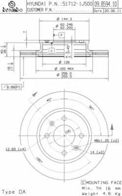 09B59410 Диск тормозной HYUNDAI i20 08- передний вент.без ESP