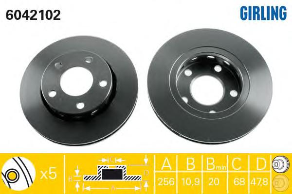 6042102 Диск тормозной AUDI A4 95-01/VW PASSAT 00-05 задний вент.D=256мм.