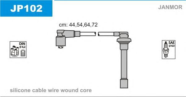 JP102 Комплект проводов зажигания HONDA: ACCORD VII 98-02, CIVIC III 87-91, CIVIC IV Fastback 94-97, CIVIC IV купе 93-96, CIVIC