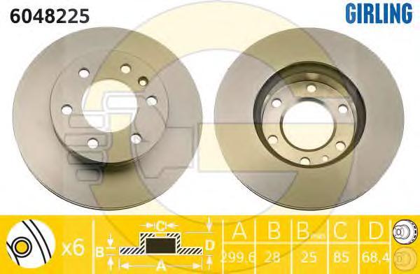 6048225 Диск тормозной MERCEDES SPRINTER 06-/VW CRAFTER 06- передний вент.D=300мм.