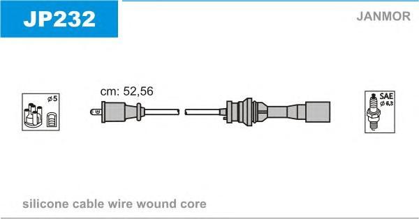 JP232 Комплект проводов зажигания MAZDA: 323 F VI 98-04, 323 VI 98-04, FAMILIA VI 98-04