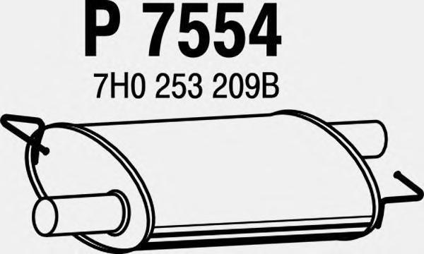 p7554 Средний глушитель выхлопных газов