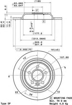 08A53711 Диск тормозной VOLVO S80 06-/V70 07-/XC70 07- задний с эл.стоян.торм.D=302мм.