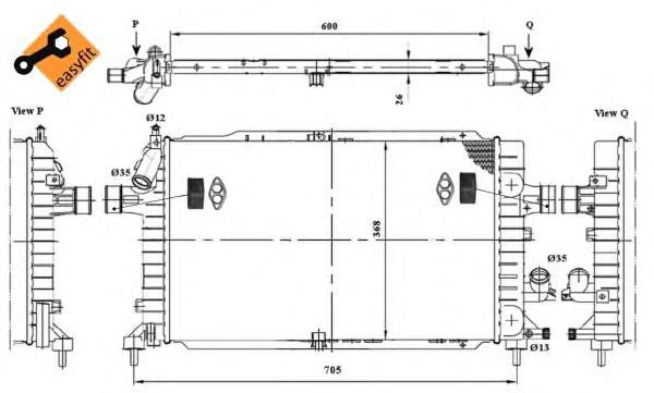 53447 Радиатор OP Astra H 2,0T/1,7D/1,9D МКПП