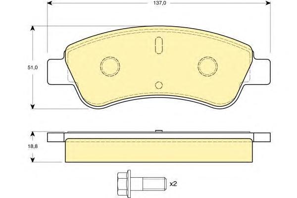 6114634 Колодки тормозные CITROEN C4 03-/PEUGEOT 307/PARTNER 1.4/1.6 -ESP передние