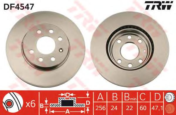 DF4547 Диск тормозной DAEWOO NUBIRA 1.6/2.0 97- передний