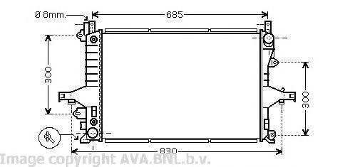 VO2117 Радиатор VOLVO S60 2.0-2.5 00- / S80 2.0-2.9 98-06 / XC70 2.4-2.5 A/T 00-