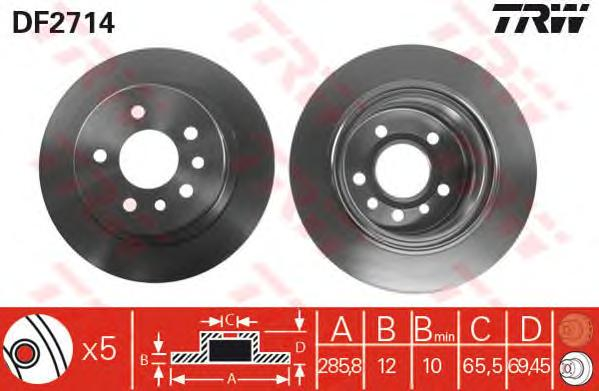 DF2714 Диск тормозной OPEL OMEGA B 94-03 задний D=286мм.