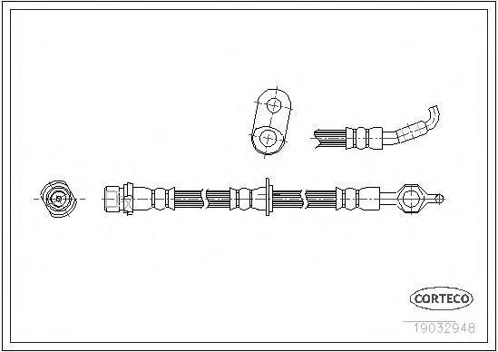 19032948 Шланг тормозной Fr R 435мм TO Corolla -01.02