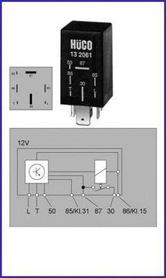 132061 Реле свечей накаливания AUDI: 100 (43, C2) 2.0 D 76-82, 100 (44, 44Q, C3) 2.0 D/2.0 D TURBO/2.4 D/2.5 TDI 82-91, 100 (4A,