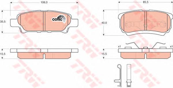GDB3341 Колодки тормозные MITSUBISHI LANCER IX 03OUTLANDER 0308 задние