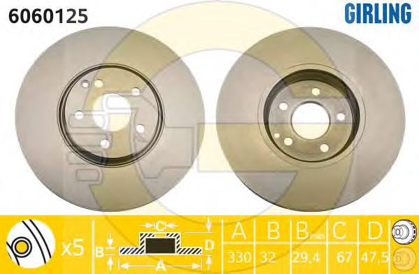6060125 Диск тормозной MERCEDES W211 500 4-matic 03-09 передний вент.D=330мм.
