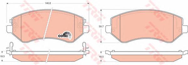 GDB4126 Колодки тормозные CHRYSLER VOYAGER 2.4-3.3 00-/JEEP CHEROKEE 2.4-3.7 01-передние
