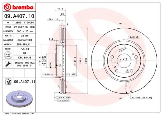 "09A40710 Диск тормозной HONDA CR-V II 16"" 05-06/ACCORD 16"" 03- передний вент. D=300мм."