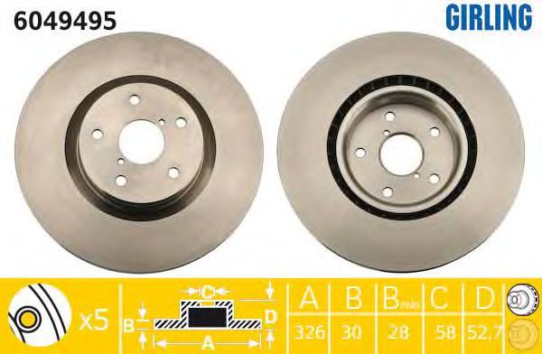 6049495 Диск тормозной SUBARU IMPREZA 2.5 08- передний вент.