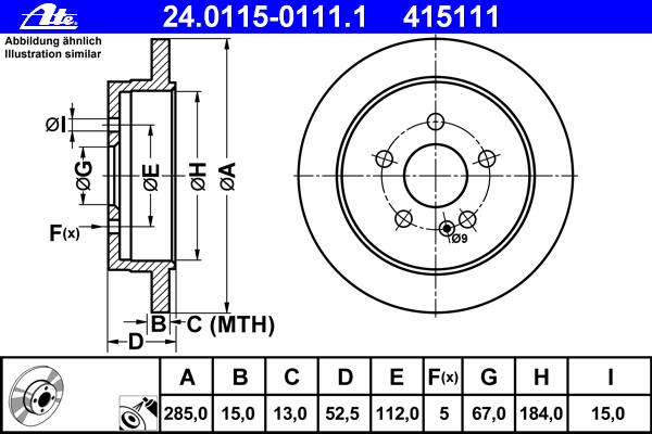24011501111 Диск тормозной задн, MERCEDES-BENZ: M-CLASS ML 230/ML 270 CDI/ML 320/ML 430 98-05