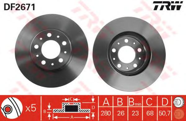 DF2671 Диск тормозной VOLVO 850 91-96/940 90-98/S70/V70 96-00 передний D=290мм.