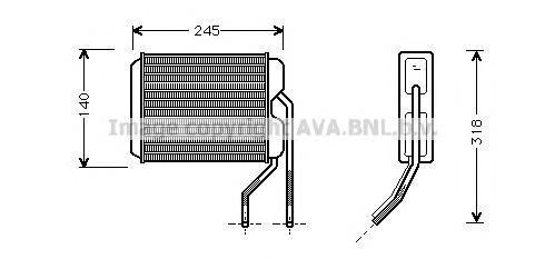 DW6026 Радиатор отопителя DAEWOO: ESPERO (KLEJ) 1.5/1.5 16V/1.8/2.0 91 - 99 , NEXIA (KLETN) 1.5/1.5 16V 95 - 97 , NEXIA седан (K