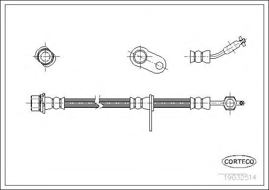 19032514 Шланг тормозной Fr R 515мм TO Avensis -02.03