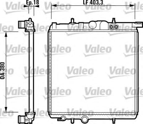 732885 Радиатор системы охлаждения PEUGEOT: 206 CC (2D) 1.6 16V 00-, 206 SW (2E/K) 1.1/1.4/1.4 16V/1.6 16V 02-, 206 Наклонная за