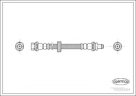 19026484 Шланг тормозной FORD: MONDEO I 1.8 TD 93-96, MONDEO II 1.6 i/1.6 i 16V/1.8 TD/1.8 i/2.0 i/2.5 24V/2.5 ST 200 96-00, MON