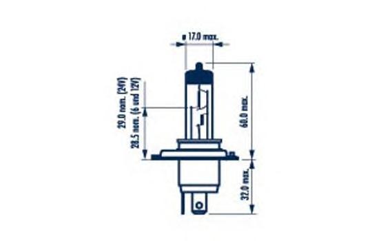 48892 Лампа галогенная для грузовых автомобилей H4 24V 75/70 W P43t