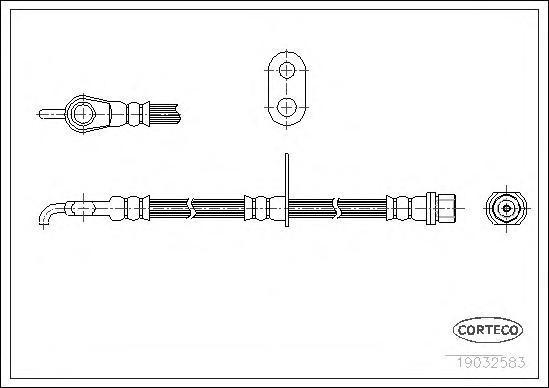 19032583 Шланг торм. Fr R Toyota Yaris 526мм