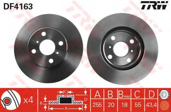 DF4163 Диск тормозной TOYOTA YARIS 1.0-1.5 99- передний D=255мм.