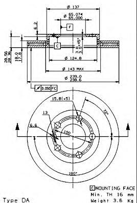 09848310 Диск тормозной передний VW GOLF IV