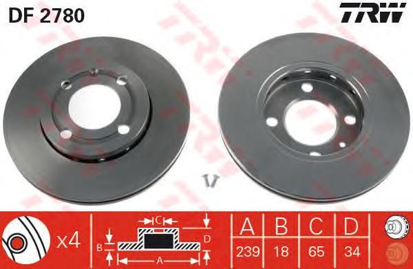 DF2780 Диск тормозной передн SEAT: AROSA 97-04,  VW: LUPO 98-05, POLO 94-99, POLO 99-01, POLO фургон 94-99, POLO фургон 92-94