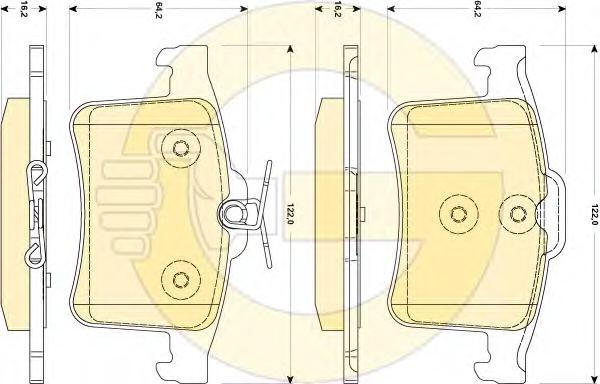 6118784 Колодки тормозные FIAT 500 08-/BRAVO 07-/DOBLO 06-/PANDA 07-/STILO 01- передние