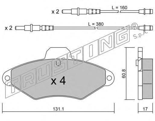 1460 К-т торм. колодок Fr PSA Xantia 93-03