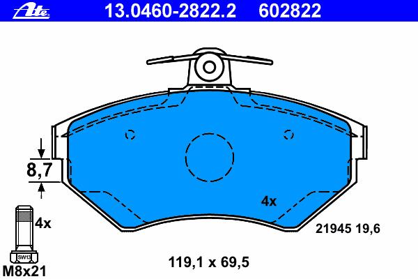 13046028222 Колодки тормозные дисковые передн, AUDI: A4 1.6/1.8/1.8 quattro/1.9 TDI 94-01, A4 Avant 1.6/1.8/1.8 quattro/1.9 DUO/