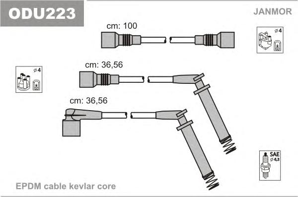 ODU223 Комплект проводов зажигания OPEL: CALIBRA A 90-97, VECTRA A 88-95, VECTRA A ХЕЧБЭК 88-95