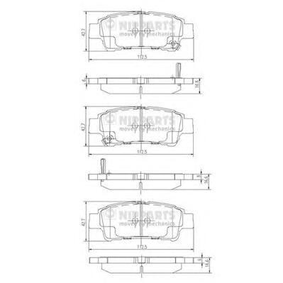 J3612019 Колодки тормозные TOYOTA AVENSIS VERSO 2.0 01-/PREVIA 2.0-2.4 00- задние