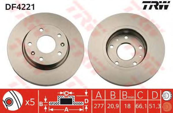 DF4221 Диск тормозной LANDROVER FREELANDER 1.8-2.5 98-06 передний