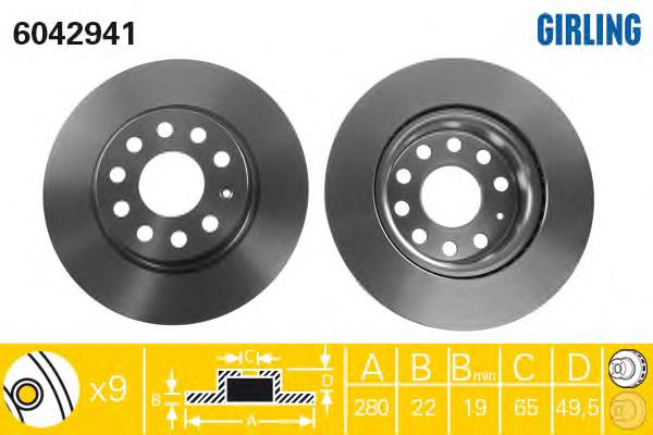 6042941 Диск тормозной AUDI A3 03-/SKODA OCTAVIA/VW GOLF V/VI/JETTA III передний D=280мм