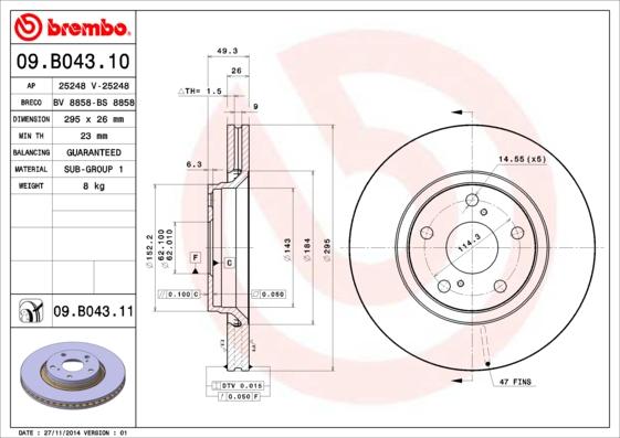 09B04310 Диск тормозной TOYOTA AURIS 07-/AVENSIS/VERSO 09- передний вент.D=295мм.