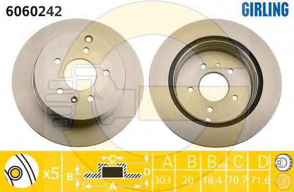 6060242 Диск тормозной CHEVROLET CAPTIVA/OPEL ANTARA 06- задний вент.D=303мм.