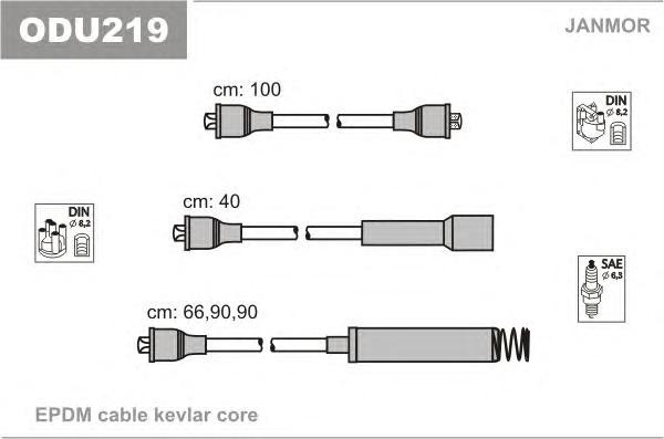 ODU219 Комплект проводов зажигания OPEL: OMEGA A 86-94, OMEGA A УНИВЕРСАЛ 86-94