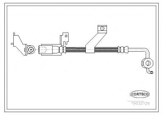 19032126 Шланг тормозной FORD: ESCORT -95 фургон 1.4/1.8 D/1.8 Turbo D 95-, ESCORT VII 1.3/1.4/1.6 16V/1.6 16V 4x4/1.6 i 16V/1.8