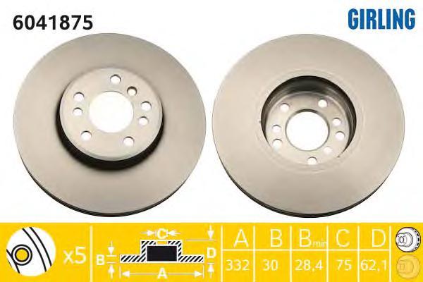 6041875 Диск тормозной BMW X5 (E53) 3.0/4.4 00-/X3 (E83) 3.0sd 06- передний вент.