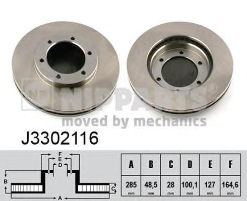 J3302116 Диск тормозной TOYOTA HIACE 95- передний вент.