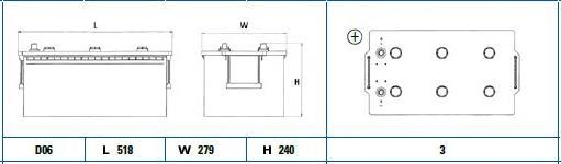 DG2153 Аккумулятор DETA PROFESSIONAL 12 V 215 AH 1200 A ETN 3 B0 518x279x240mm 55.7kg