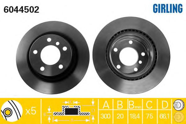6044502 Диск тормозной BMW 1 E81/E87/3 E90/91 1.6-3.0 05- задний вент. D=300мм.