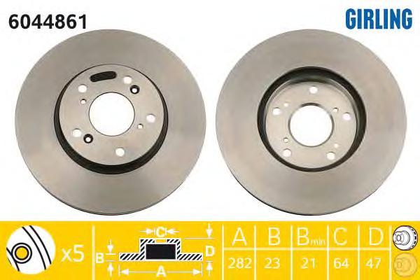 "6044861 Диск тормозной HONDA CIVIC 01-06/CR-V 2.0 02-06/STREAM 15"" 01- передний вент."